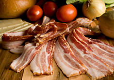 Hickory Smoked Bacon: Uncured, Thin Sliced