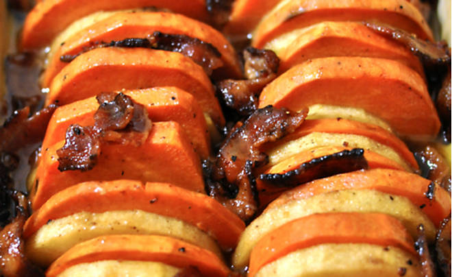 Baked Yams with Apple & Bacon Recipe | D'Artagnan