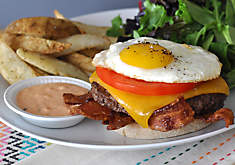 Breakfast Burger Recipe with Bacon, Egg & Bloody Mary Mayo | D'Artagnan