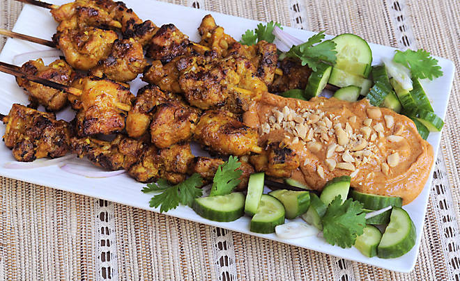 Grilled Chicken Satay with Spicy Peanut Sauce Recipe | D'Artagnan