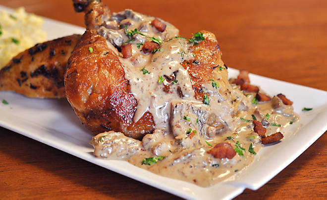 Roast Chicken with Bacon and Morel Mushroom Pan Sauce Recipe | D'Artagnan