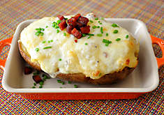 Cheesy twice baked potatoes with spicy chorizo recipe. D'Artagnan