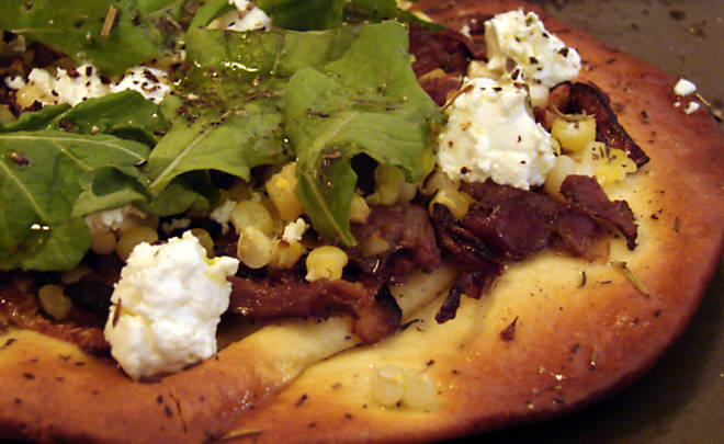 Jennifer Hess Flatbread Pizzas with Duck Confit, Sweet Corn & Goat Cheese Recipe | D'Artagnan