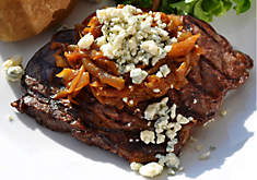 Grilled Buffalo Steak with Smoky Onions & Roquefort Recipe | D'Artagnan
