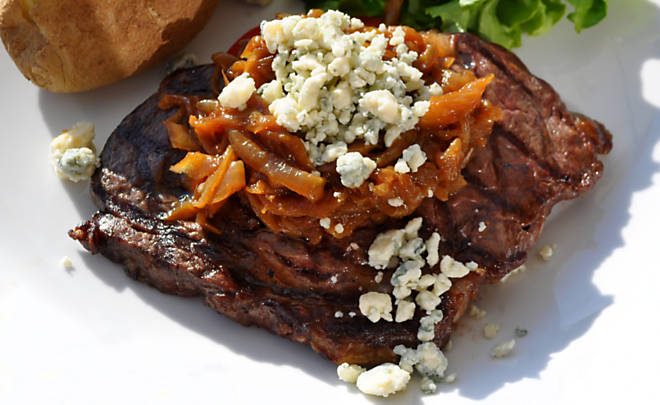 grilled-buffalo-rib-eye-steak-with-onions-and-roquefort-recipe ...