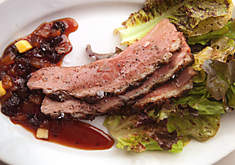 Grilled Duck Breasts with Raisin-Pineapple Sauce