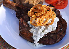 Grilled Ribeye Steaks with Bleu Cheese Sauce & Crispy Shallots Recipe | D'Artagnan