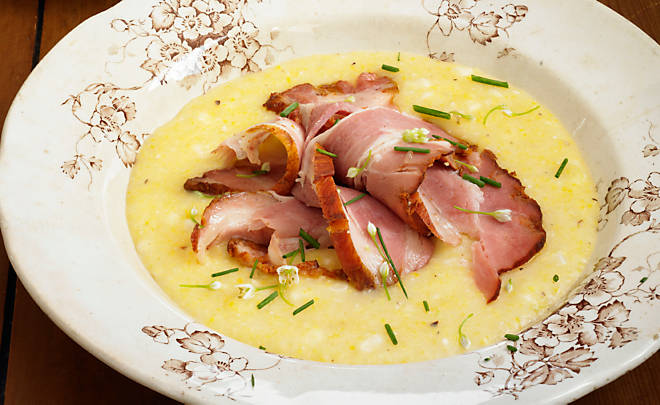 Ham And White Cheddar Grits Recipe — Dishmaps