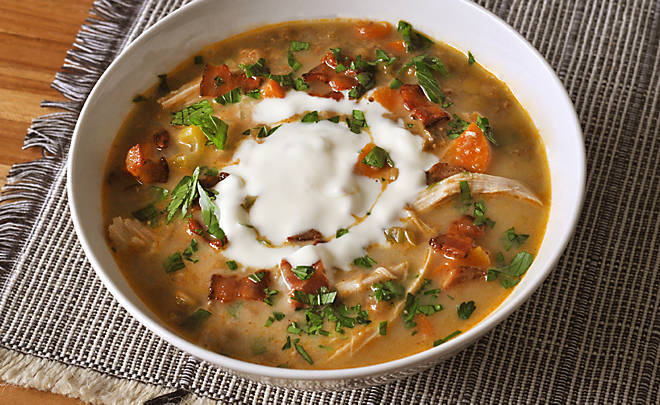 French Lentil Soup with Chicken Confit & Bacon Recipe | D'Artagnan