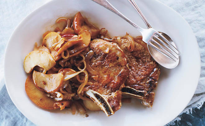 Lucinda Scala Quinn Pork Chops with Apples Recipe | D'Artagnan