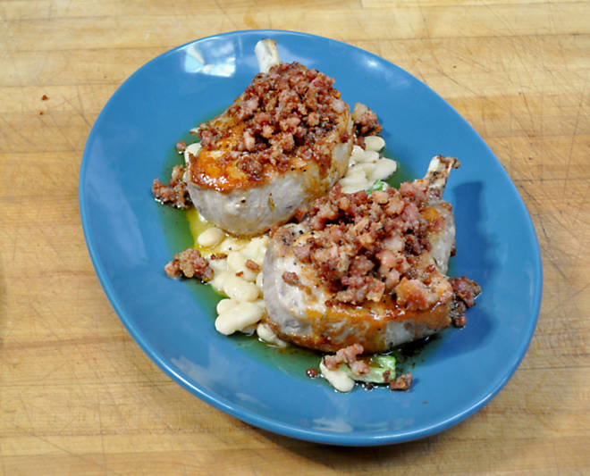 Amanda Freitag Pork Chops with Crisp Ventrèche & White Bean Ragu Recipe | D'Artagnan