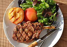 Pork Chops with Grilled Peaches Recipe | D'Artagnan