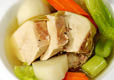 Capon Poule au Pot with Foie Gras Stuffing