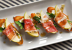 French Ham & Pear Crostini with Truffle Honey