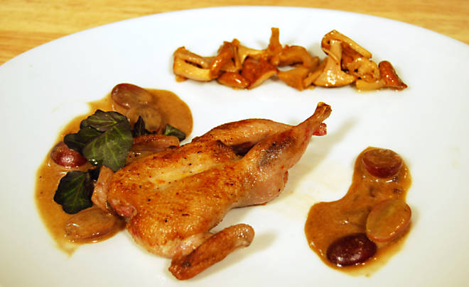 Ariane Daguin's Roasted Quail with Foie Gras, Armagnac & Grapes Recipe | D'Artagnan