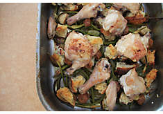 Roasted Chicken with Garlic Scapes, Croutons & Lemon