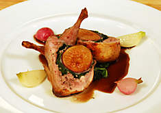 Roasted Quail Stuffed with Fig & Prosciutto