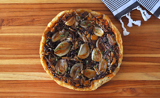 Mushroom and Shallot Tarte Tatin with Goat Cheese Recipe | D'Artagnan