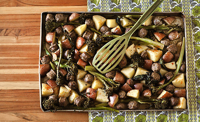 Sheet Pan Roast Sausage with Garlic, Potatoes, & Broccolini Recipe | D'Artagnan