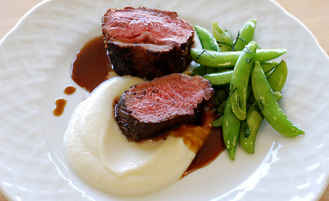 Sumac Lamb Loin with Cauliflower Puree & Minty Peas Recipe | D'Artagnan