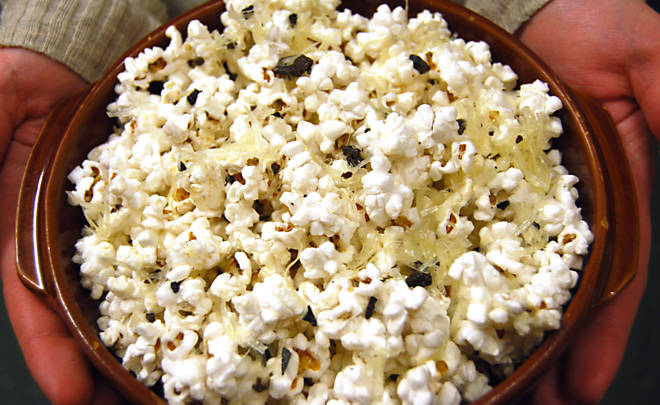 black truffle popcorn with black truffle oil truffle butter parmesan ...