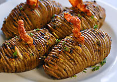 Truffled Hasselback Potatoes with Ham Crisps