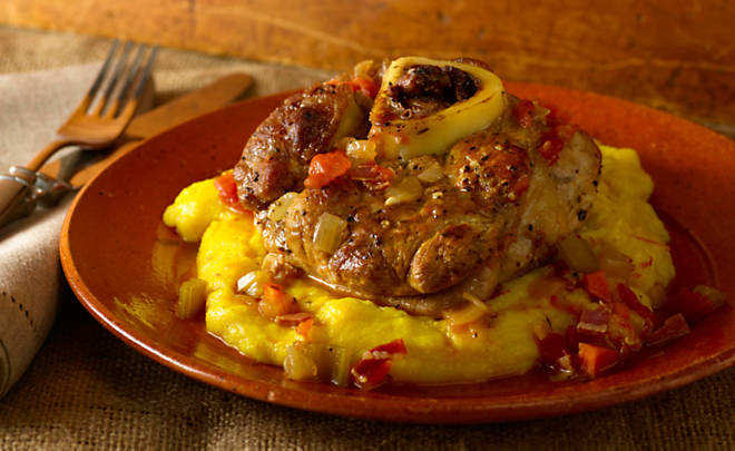 Pam Anderson's Veal Osso Buco with Dirty Polenta Recipe | D'Artagnan