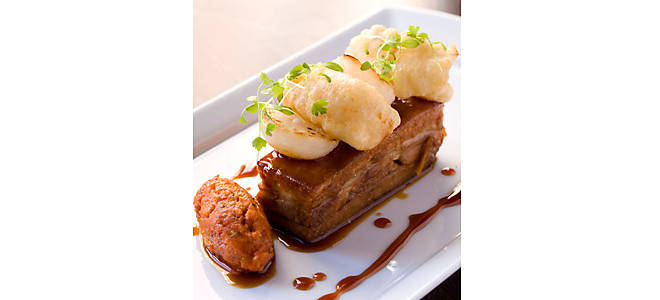 Jesse Schenker Pork Belly with Sherry Carmel & Sauce Romesco Recipe | D'Artagnan