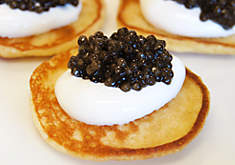Blini with Creme Fraiche and Caviar Recipe