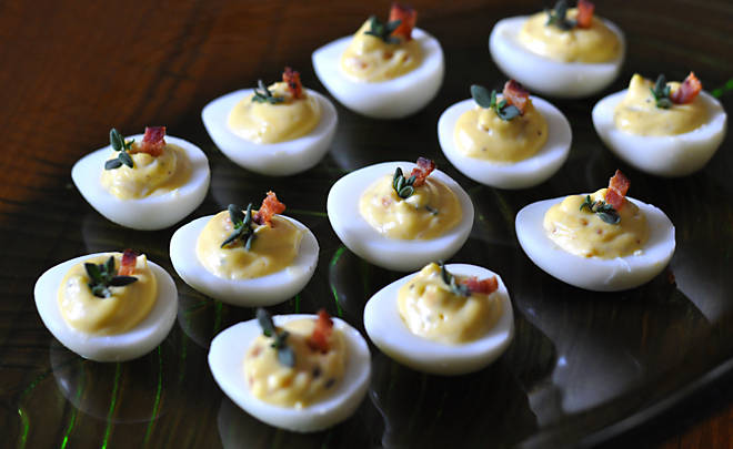 deviled quail eggs with bacon recipe d 39 artagnan. Black Bedroom Furniture Sets. Home Design Ideas