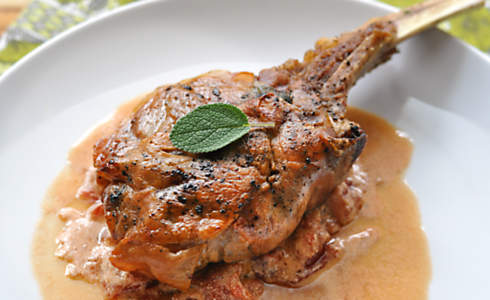 Veal Chops Saltimbocca with Tomato Cream
