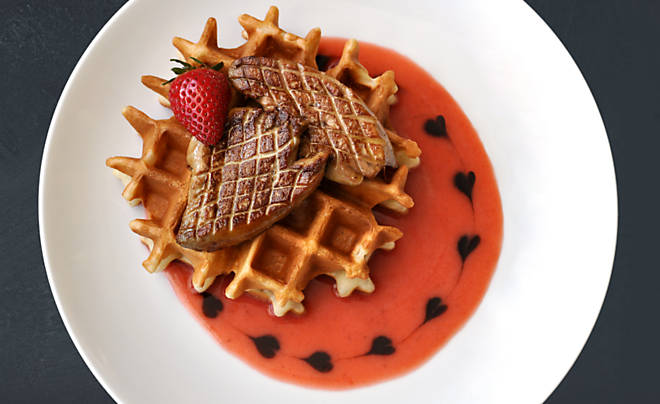 Foie Gras on Strawberry Waffles with Balsamic Syrup Recipe | D'Artagnan
