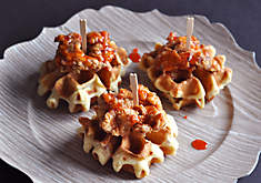 Baby Duck Fat Fried Chicken & Bacon Waffles Appetizer Recipe | D'Artagnan