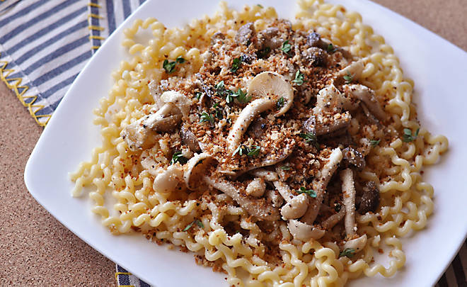 Pasta with Mushrooms and Truffle Butter Breadcrumbs Recipe | D'Artagnan