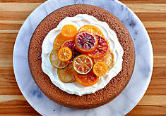 Blood Orange & Fennel Olive Oil Cake with Mascarpone Cream | D'Artagnan