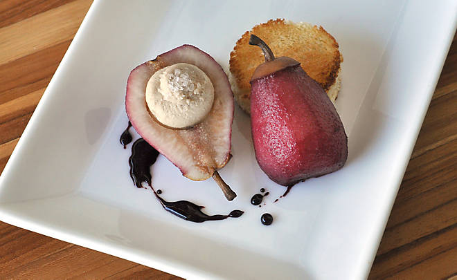 Wine Poached Pears Stuffed with Foie Gras Recipe | D'Artagnan
