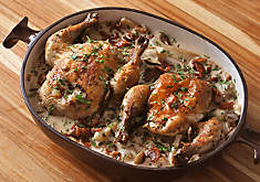 Poussins Braised in White Wine with Mushrooms Recipe | D'Artagnan