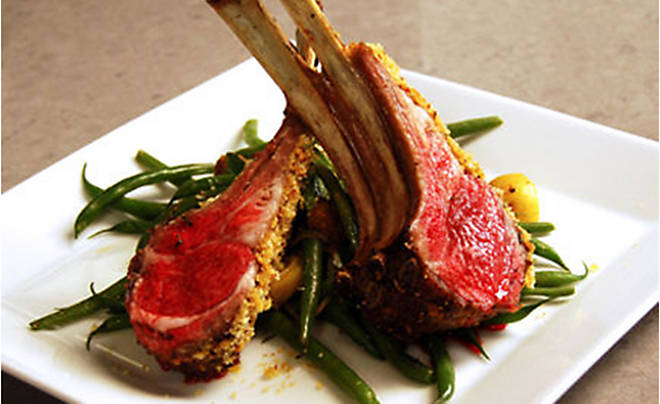 Ariane Duarte Rack of Lamb with Warm Green Bean Potato Salad Recipe | D'Artagnan