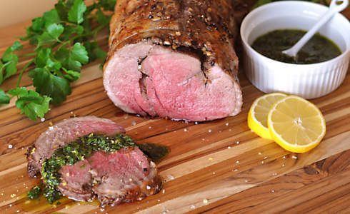Slow-Roasted Boneless Leg of Lamb with Mint Gremolata