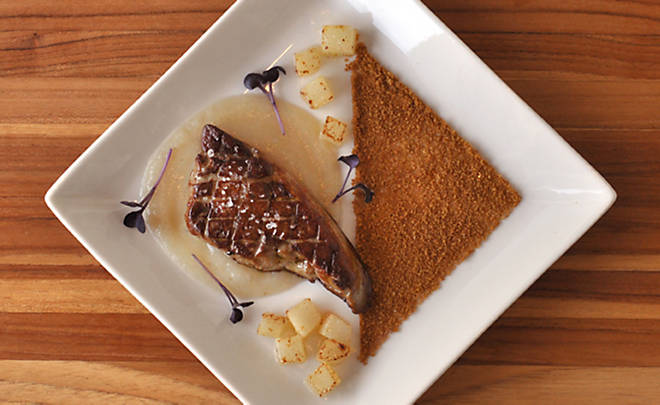 Seared Foie Gras with Pears and Gingersnap Cookies Recipe | D'Artagnan
