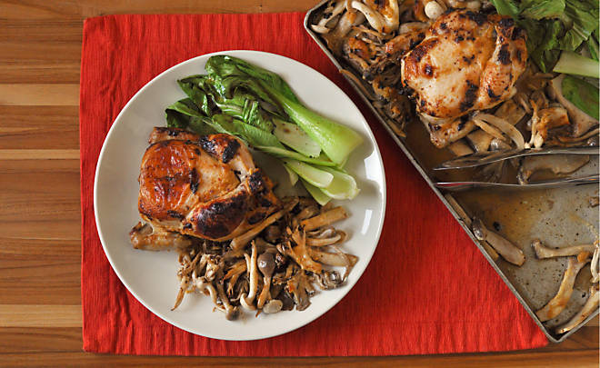 Roast Poussins with Miso Butter and Mushrooms | D'Artagnan