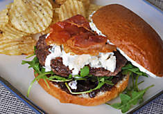 Wagyu Burger with Blue Cheese, Figs, and Prosciutto Recipe | D'Artagnan